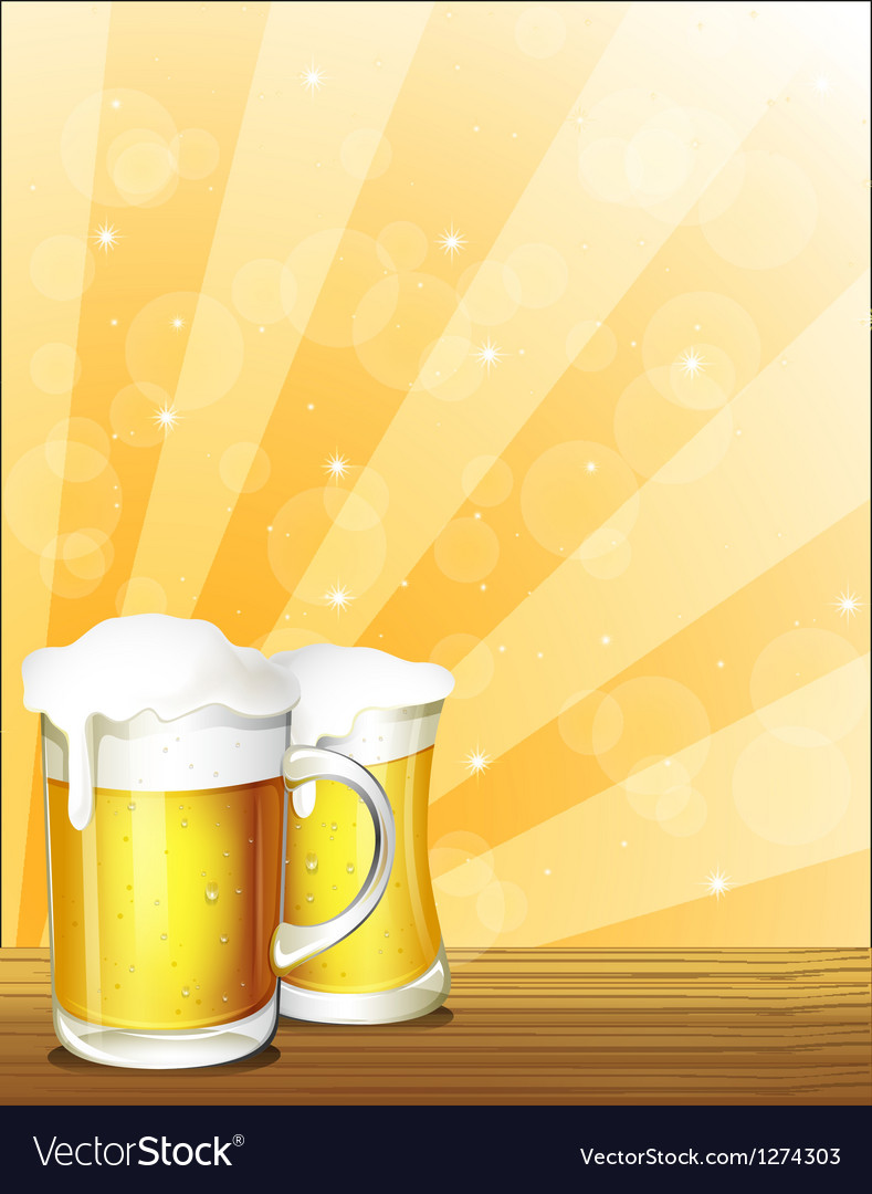 Two glasses of beer vector | Price: 1 Credit (USD $1)