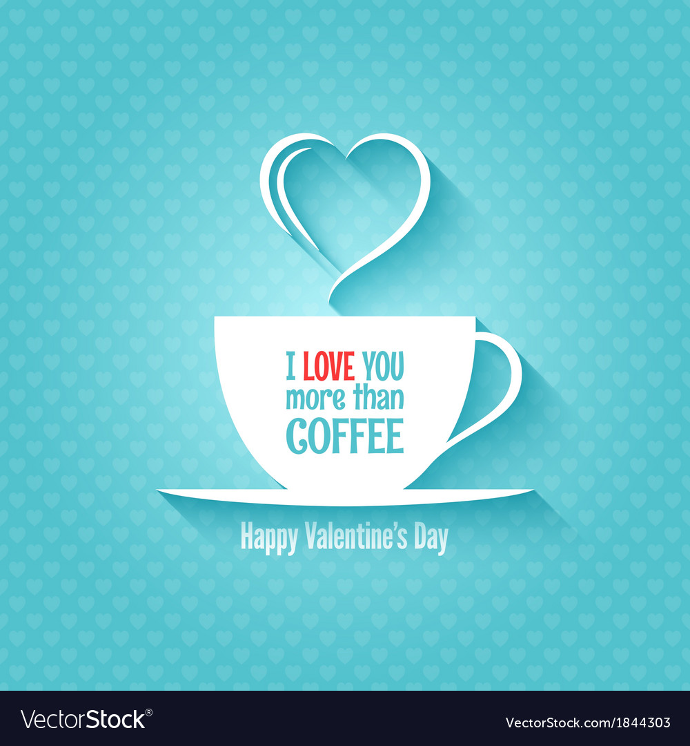 Valentines day coffee cup design background vector | Price: 1 Credit (USD $1)