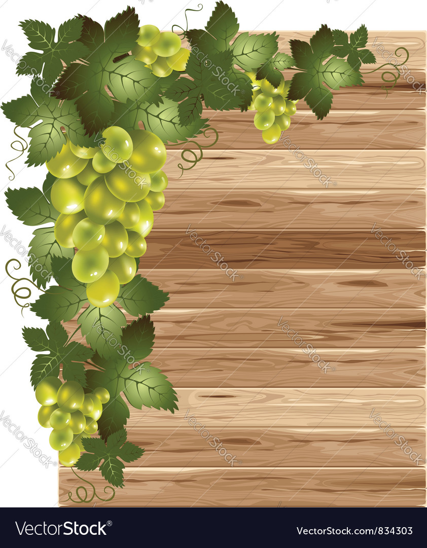 White grapes on a wooden background vector | Price: 3 Credit (USD $3)