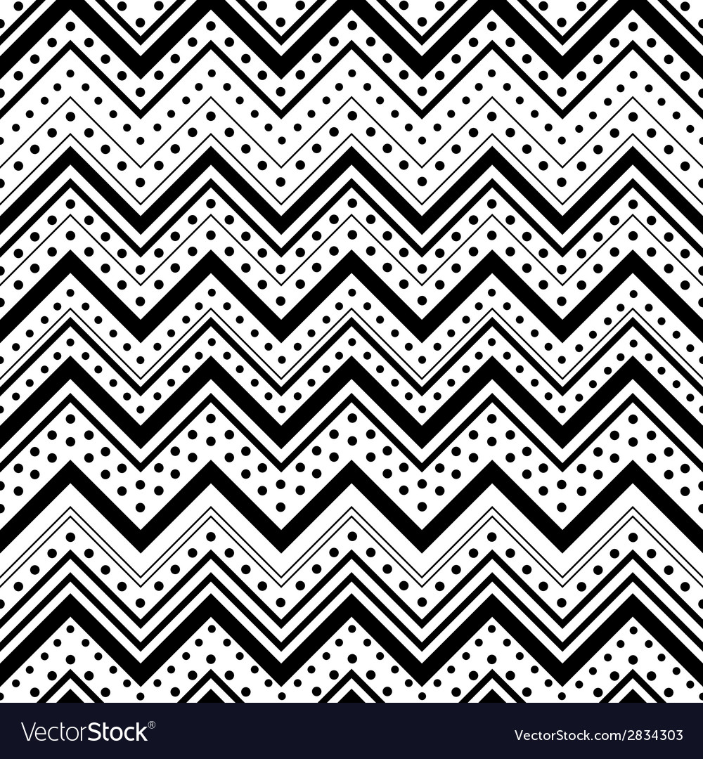 Zig zag seamless pattern with black dots and lines vector | Price: 1 Credit (USD $1)