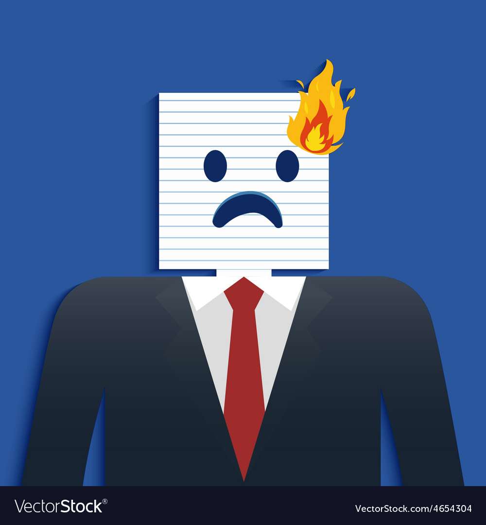 Business man burning head vector | Price: 1 Credit (USD $1)