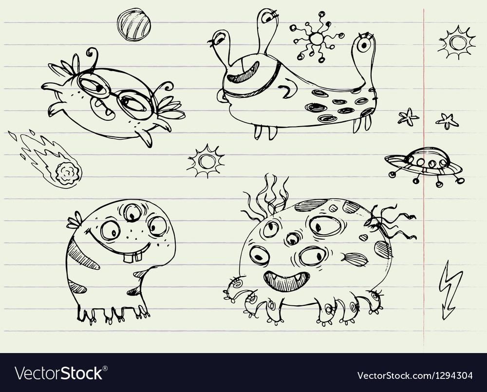 Collection of cartoon doodle monsters 2 vector | Price: 1 Credit (USD $1)