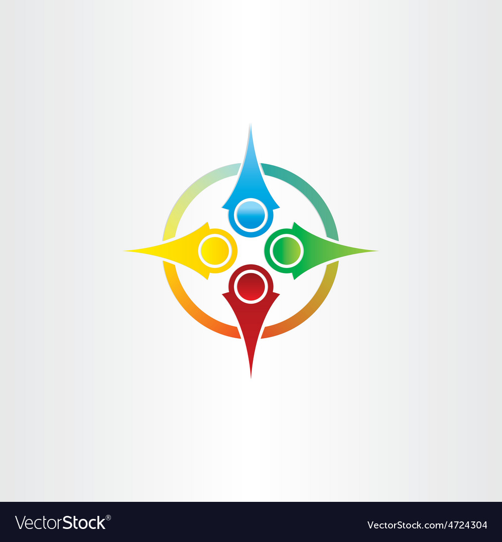 Color compass arrows symbol vector | Price: 1 Credit (USD $1)