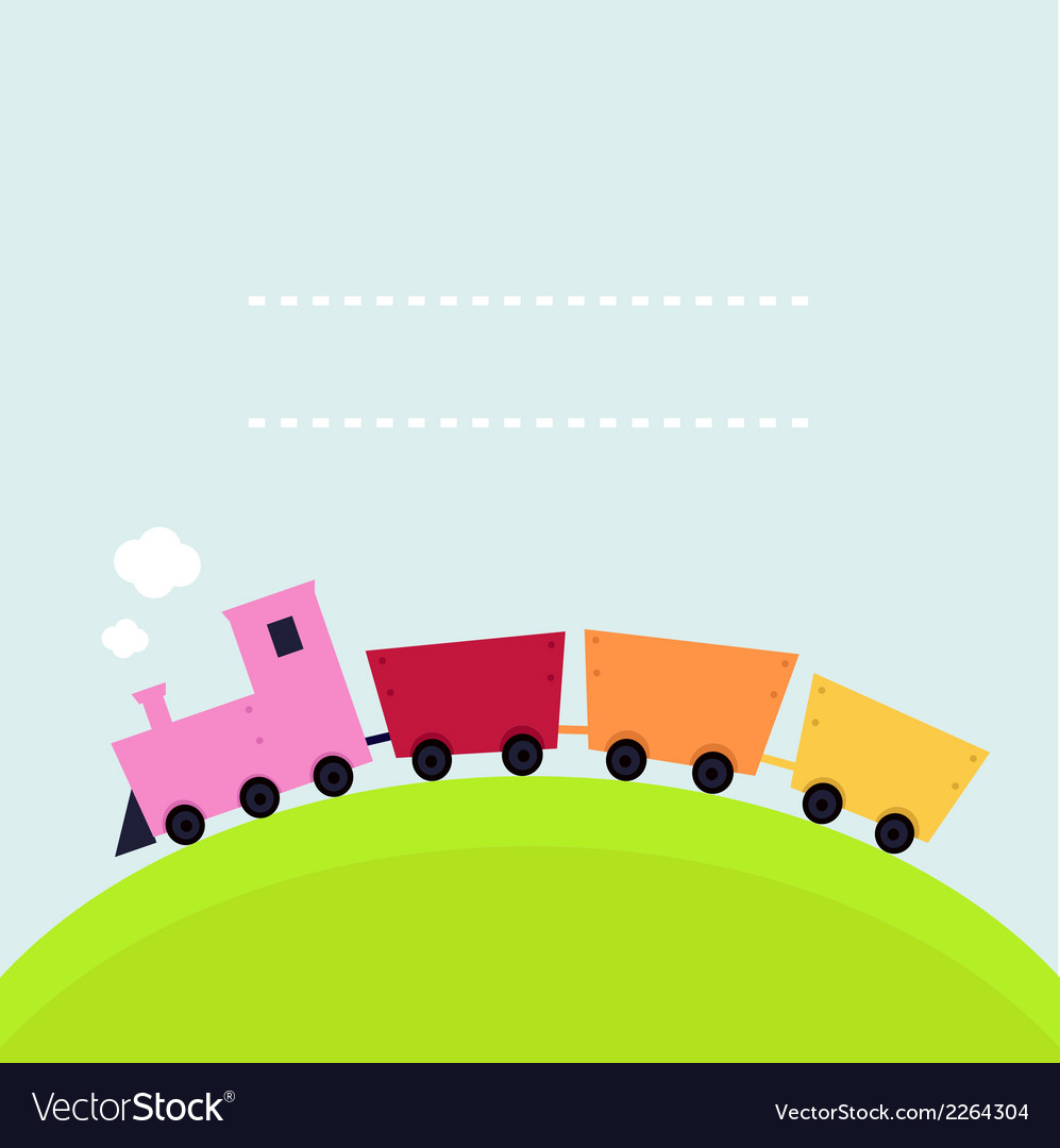 Colorful childish train on hill with copy space vector | Price: 1 Credit (USD $1)