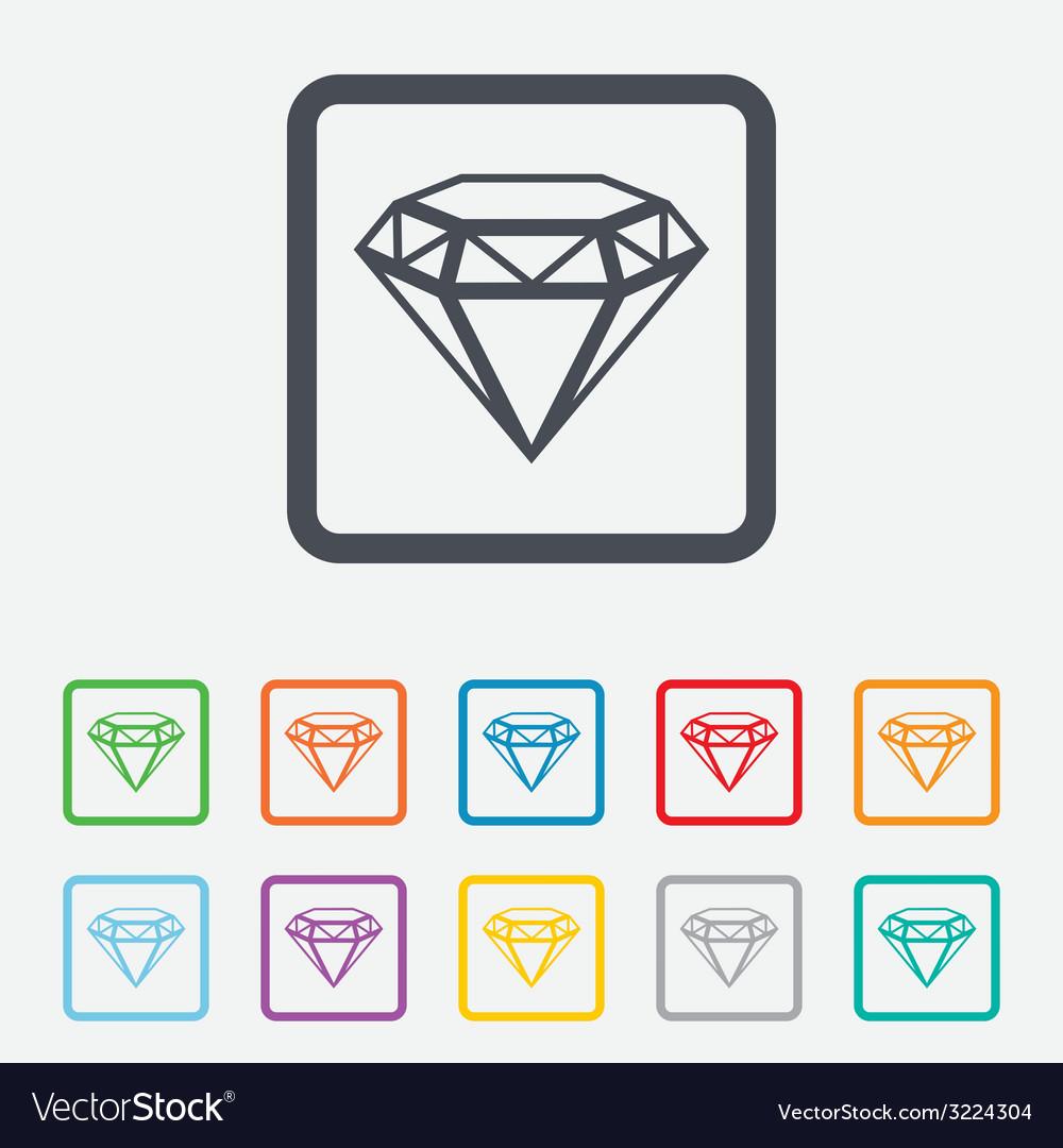 Diamond sign icon jewelry symbol gem stone vector | Price: 1 Credit (USD $1)