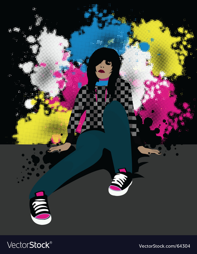 Emo girl vector | Price: 1 Credit (USD $1)