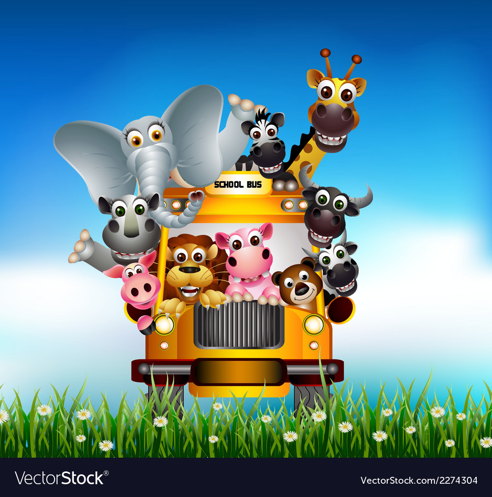 Funny animal cartoon on yellow car vector | Price: 3 Credit (USD $3)