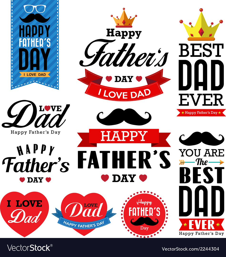 Happy fathers day vintage retro type font vector | Price: 1 Credit (USD $1)