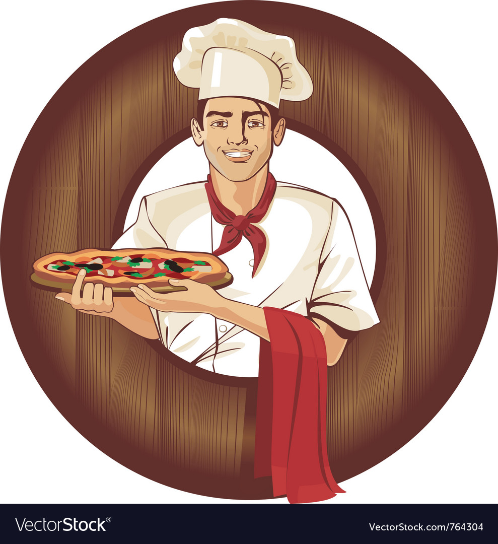 Italian pizza cook brunette man vector | Price: 5 Credit (USD $5)