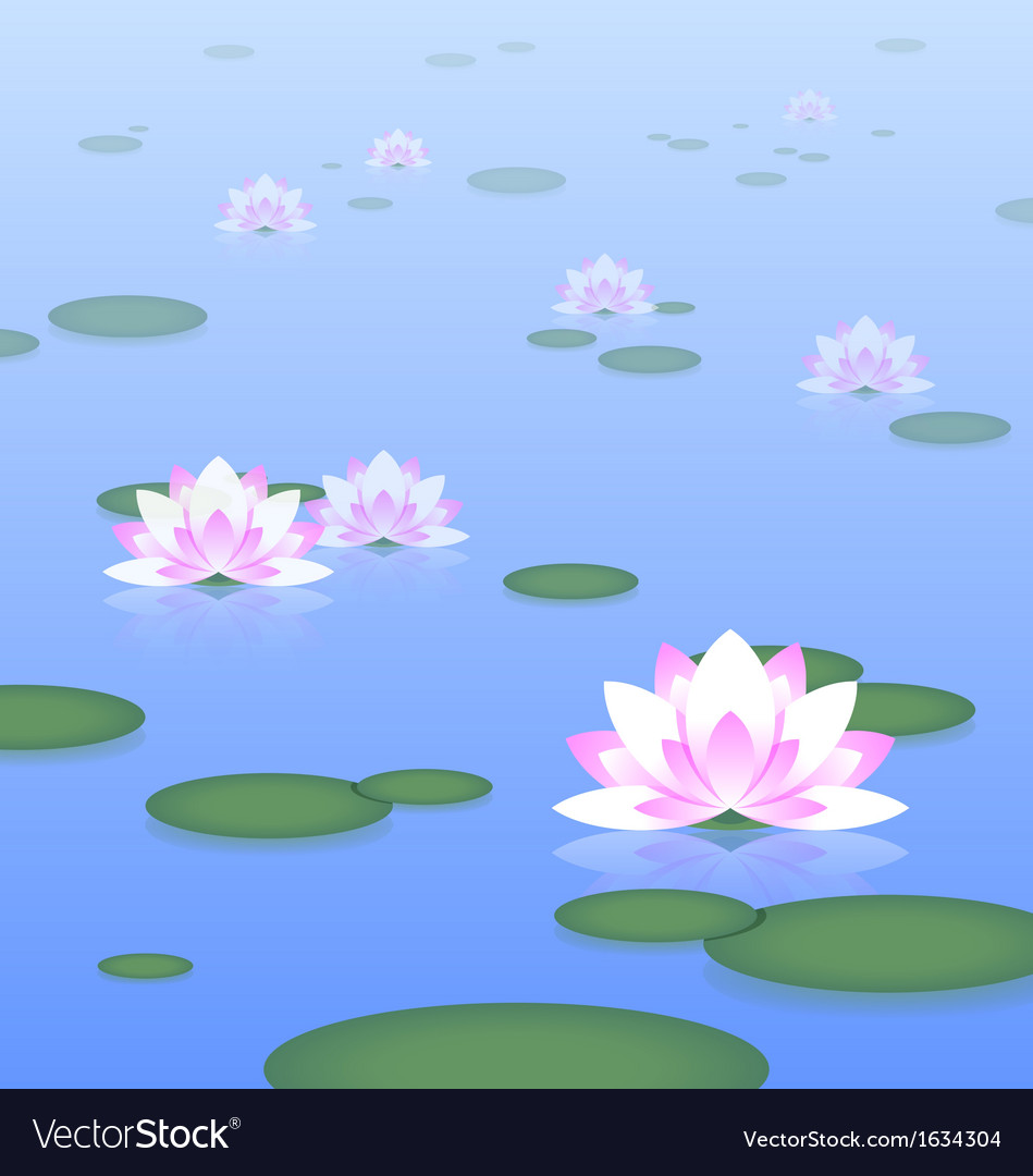 Lotus pond vector | Price: 1 Credit (USD $1)