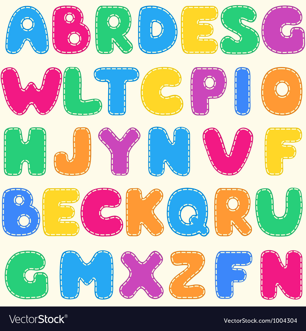 Seamless childrens bright alphabet pattern vector | Price: 1 Credit (USD $1)