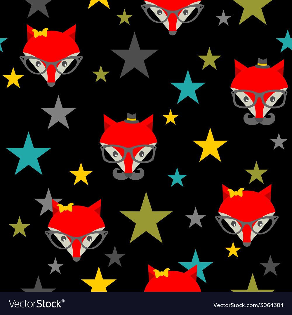 Seamless pattern with hipster foxes vector | Price: 1 Credit (USD $1)