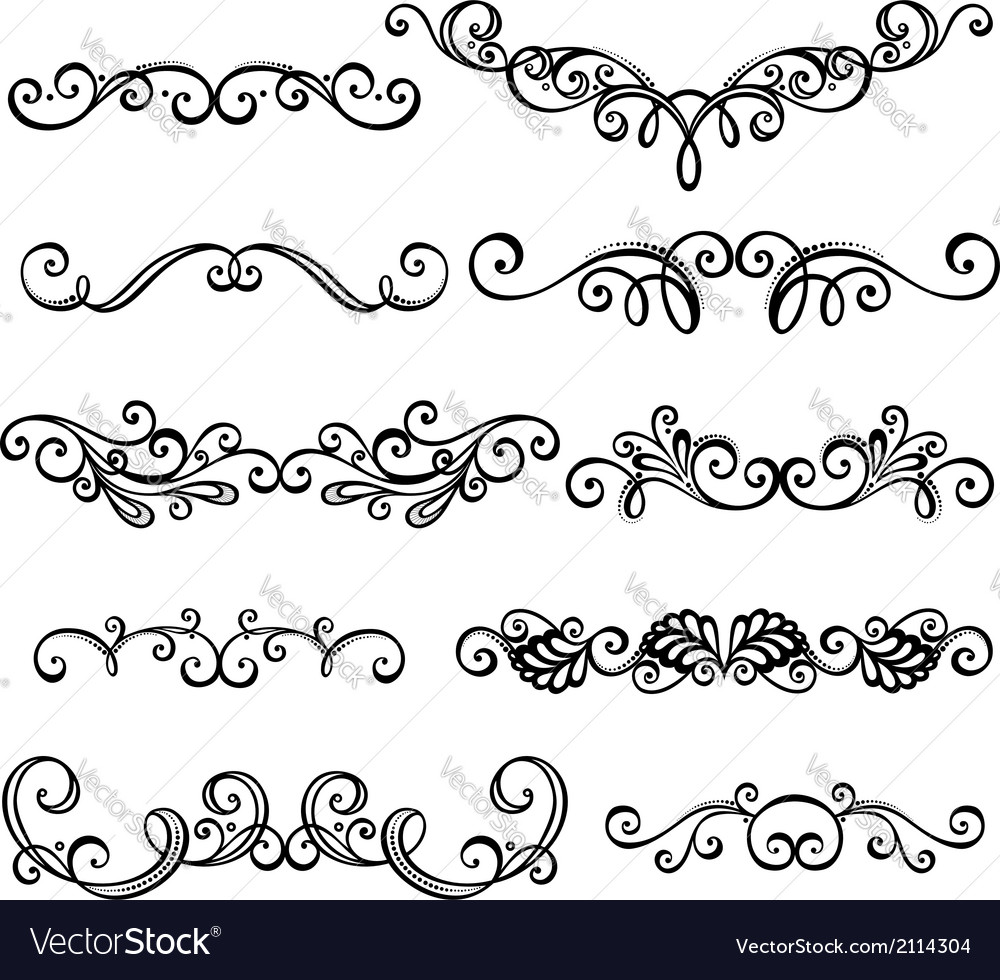 Set of calligraphic borders vector | Price: 1 Credit (USD $1)