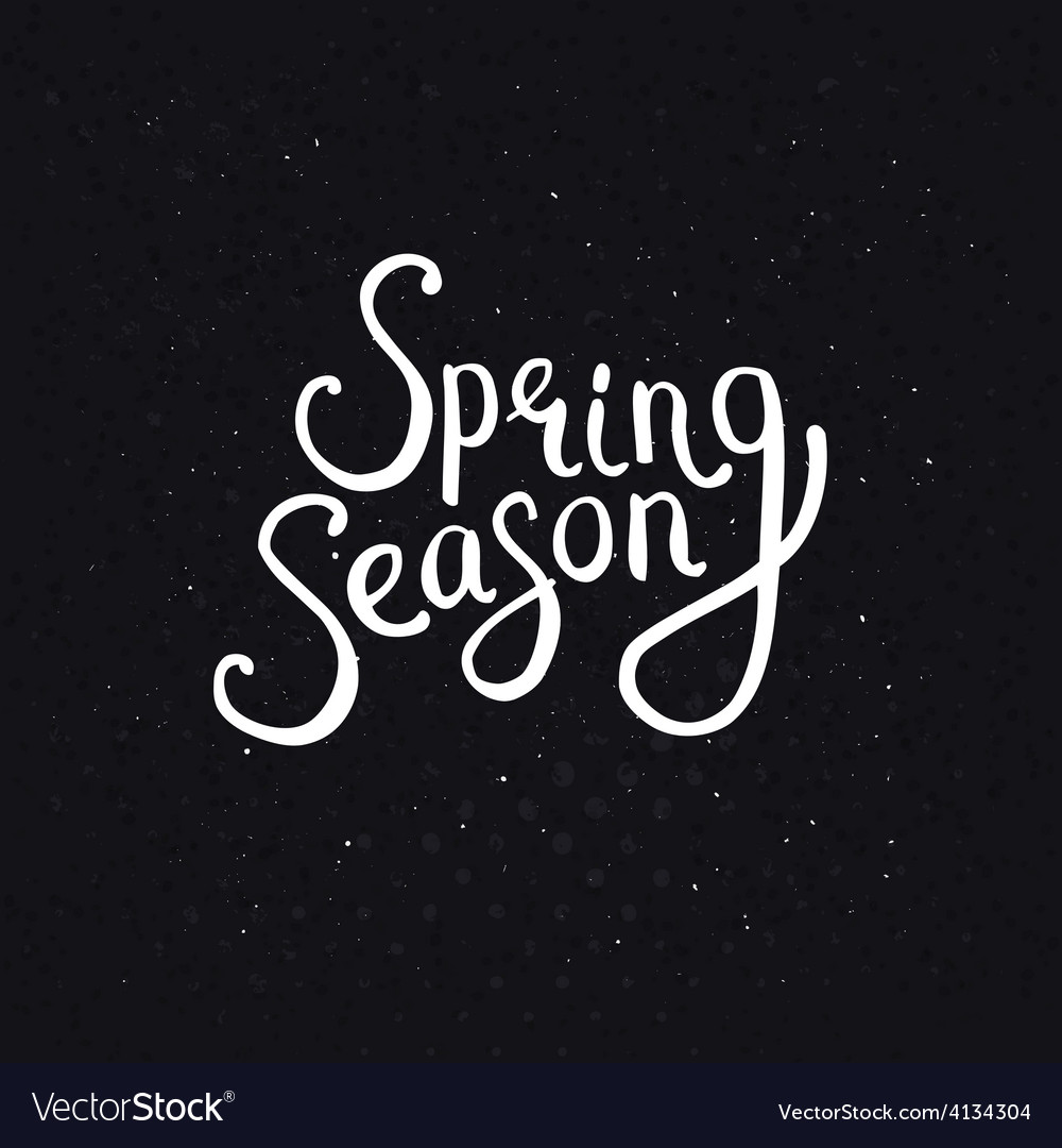 Spring season phrase on a dotted black background vector | Price: 1 Credit (USD $1)