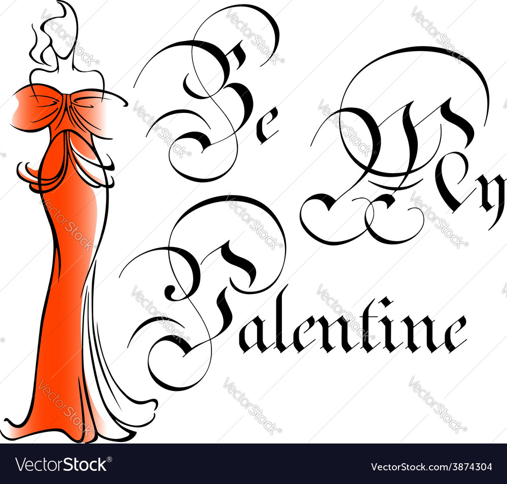 Vintage be my valentine greeting card vector   Price: 1 Credit (USD $1)
