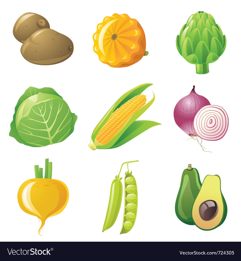 9 highly detailed vegetables icons set vector | Price: 3 Credit (USD $3)
