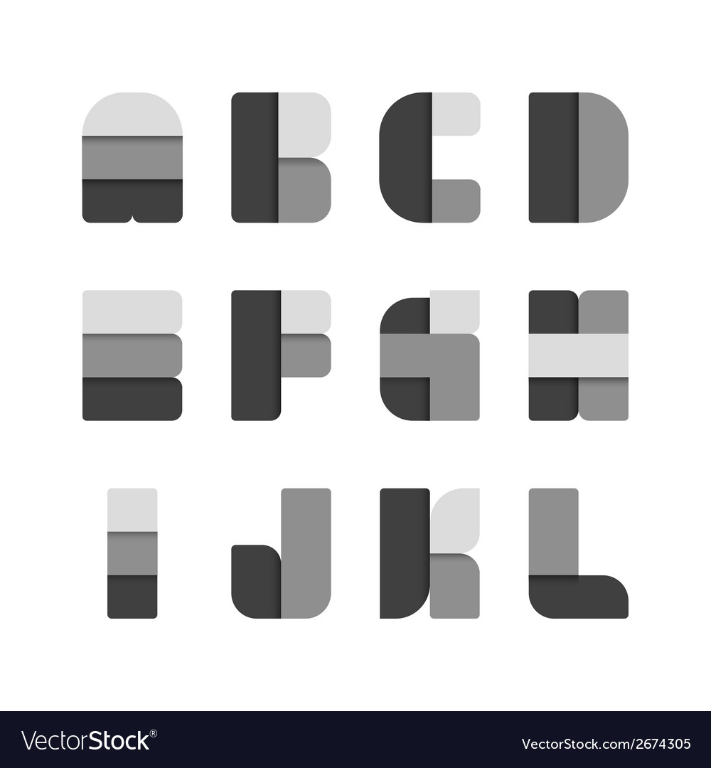 Alphabet set paper black colour style vector | Price: 1 Credit (USD $1)