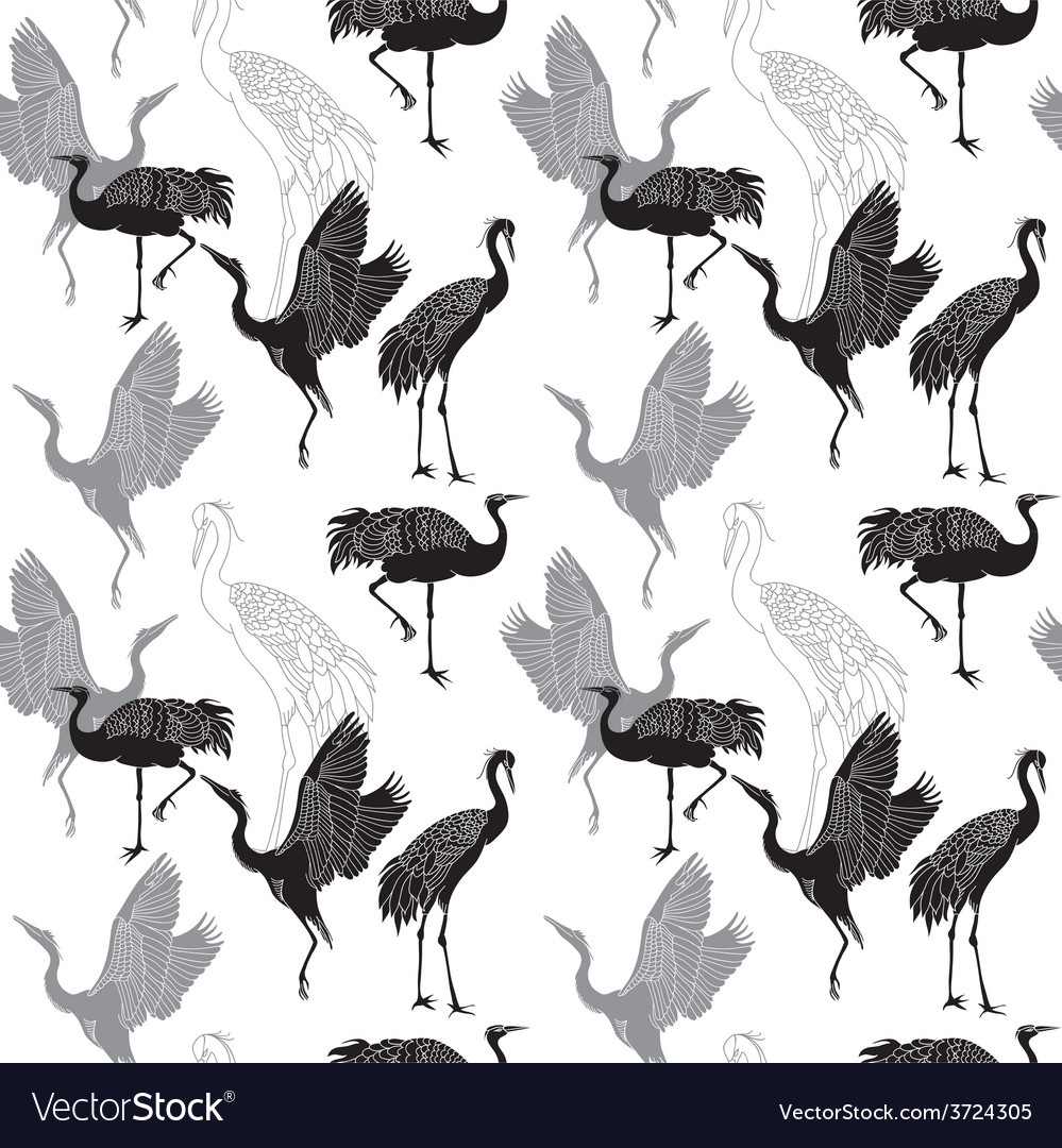 Cranes birds seamless pattern vector | Price: 1 Credit (USD $1)