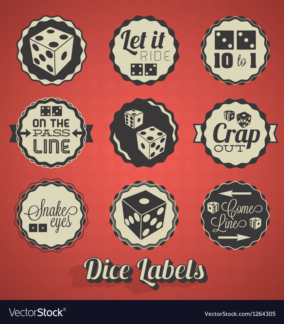 Dice and craps labels vector | Price: 1 Credit (USD $1)