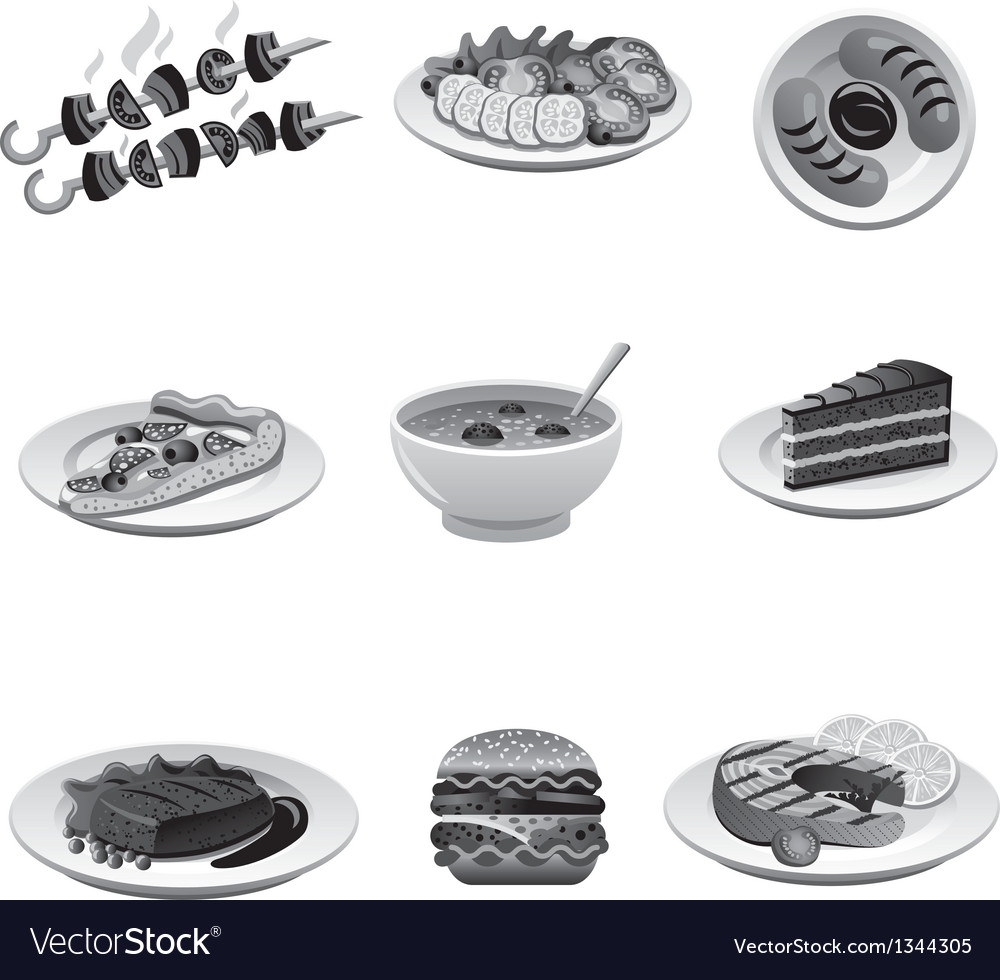 Food icon set gray vector | Price: 3 Credit (USD $3)