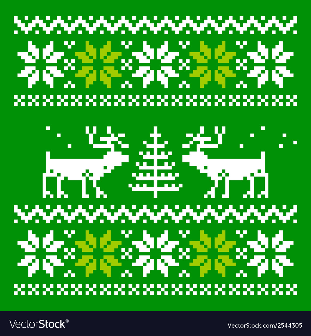 Knitted scandinavian scarf with deer vector | Price: 1 Credit (USD $1)