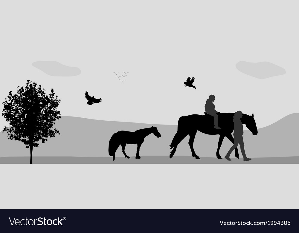 People walk on connie birds fly in nature vector | Price: 1 Credit (USD $1)