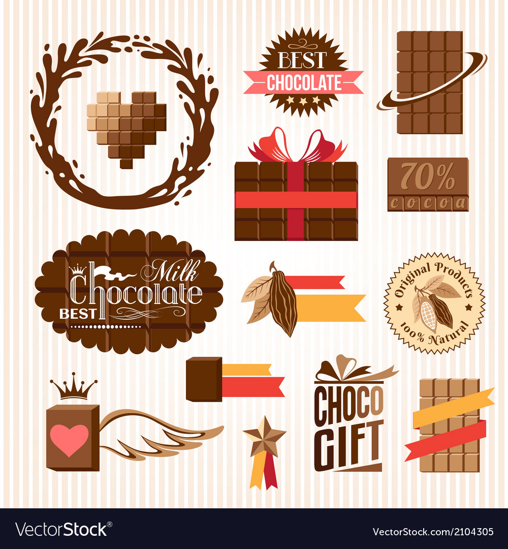Set of chocolate decorative elements vector | Price: 1 Credit (USD $1)