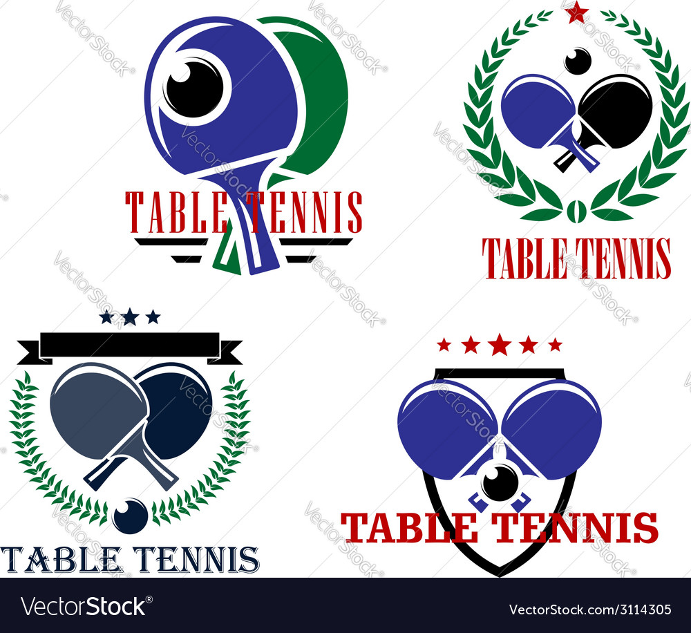 Table tennis emblems or badges vector | Price: 1 Credit (USD $1)
