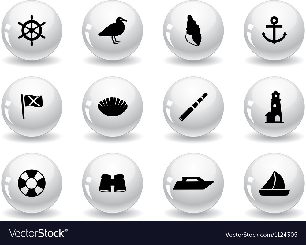Web buttons seaside icons vector | Price: 1 Credit (USD $1)