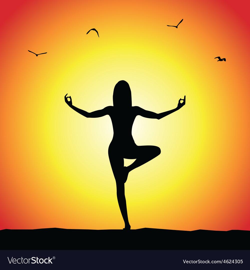 Yoga pose silhouette vector | Price: 1 Credit (USD $1)