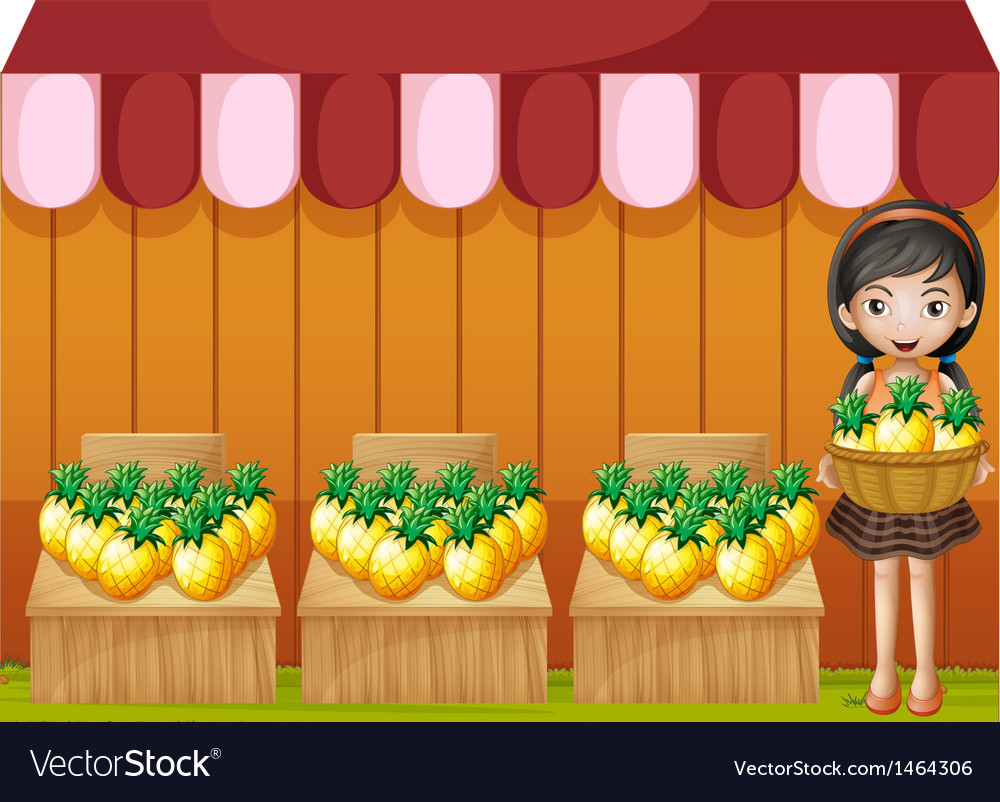 A girl selling pineapples vector | Price: 1 Credit (USD $1)
