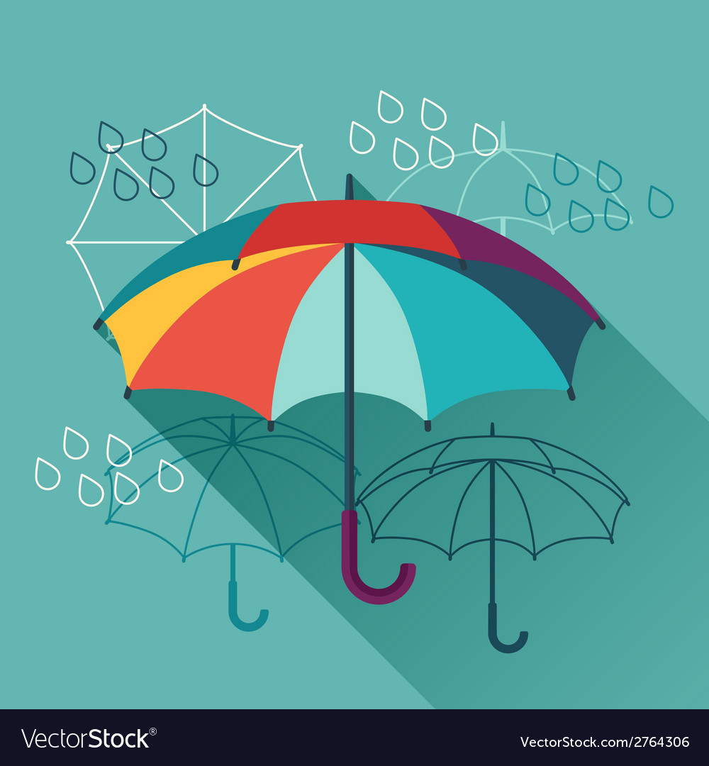 Card with umbrellas in flat design style vector | Price: 1 Credit (USD $1)