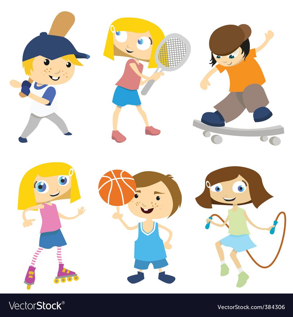 Cartoon children playing vector | Price: 1 Credit (USD $1)