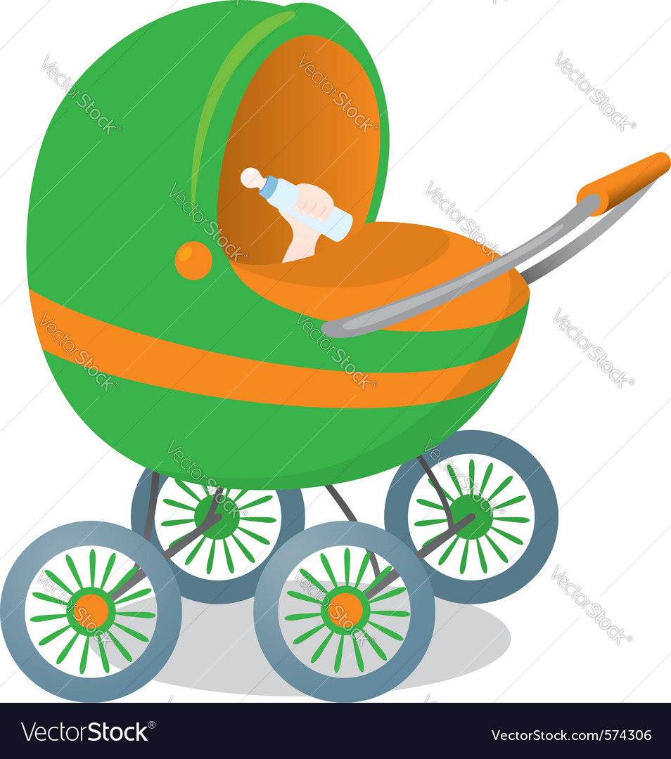 Child in a stroller vector | Price: 1 Credit (USD $1)