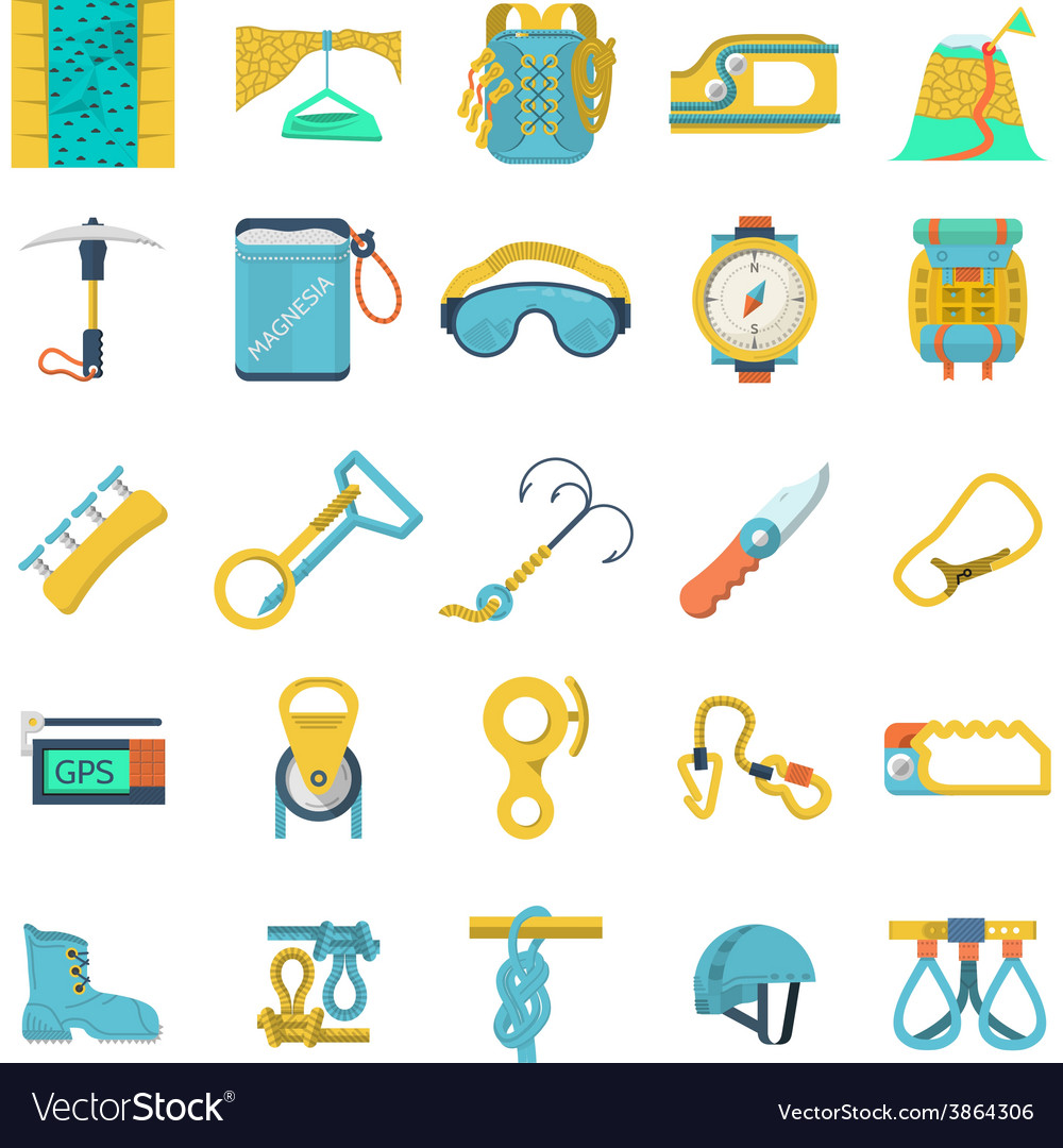 Colored icons collection for rock climbing vector | Price: 1 Credit (USD $1)