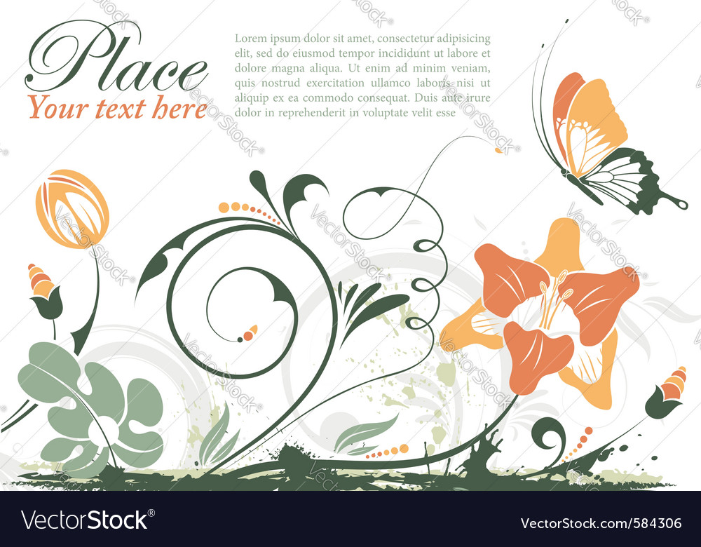 Grunge floral frame with butterfly element for des vector   Price: 1 Credit (USD $1)