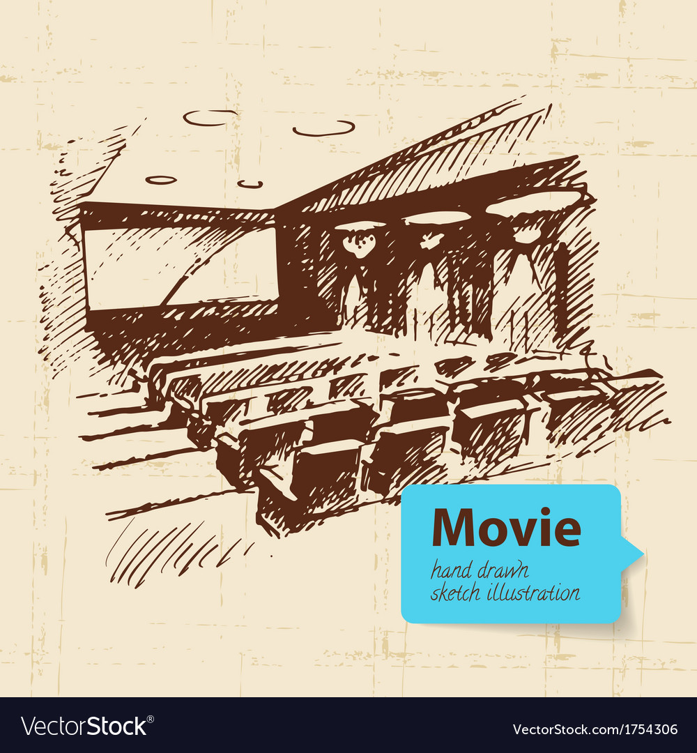 Hand drawn movie sketch background vector | Price: 1 Credit (USD $1)