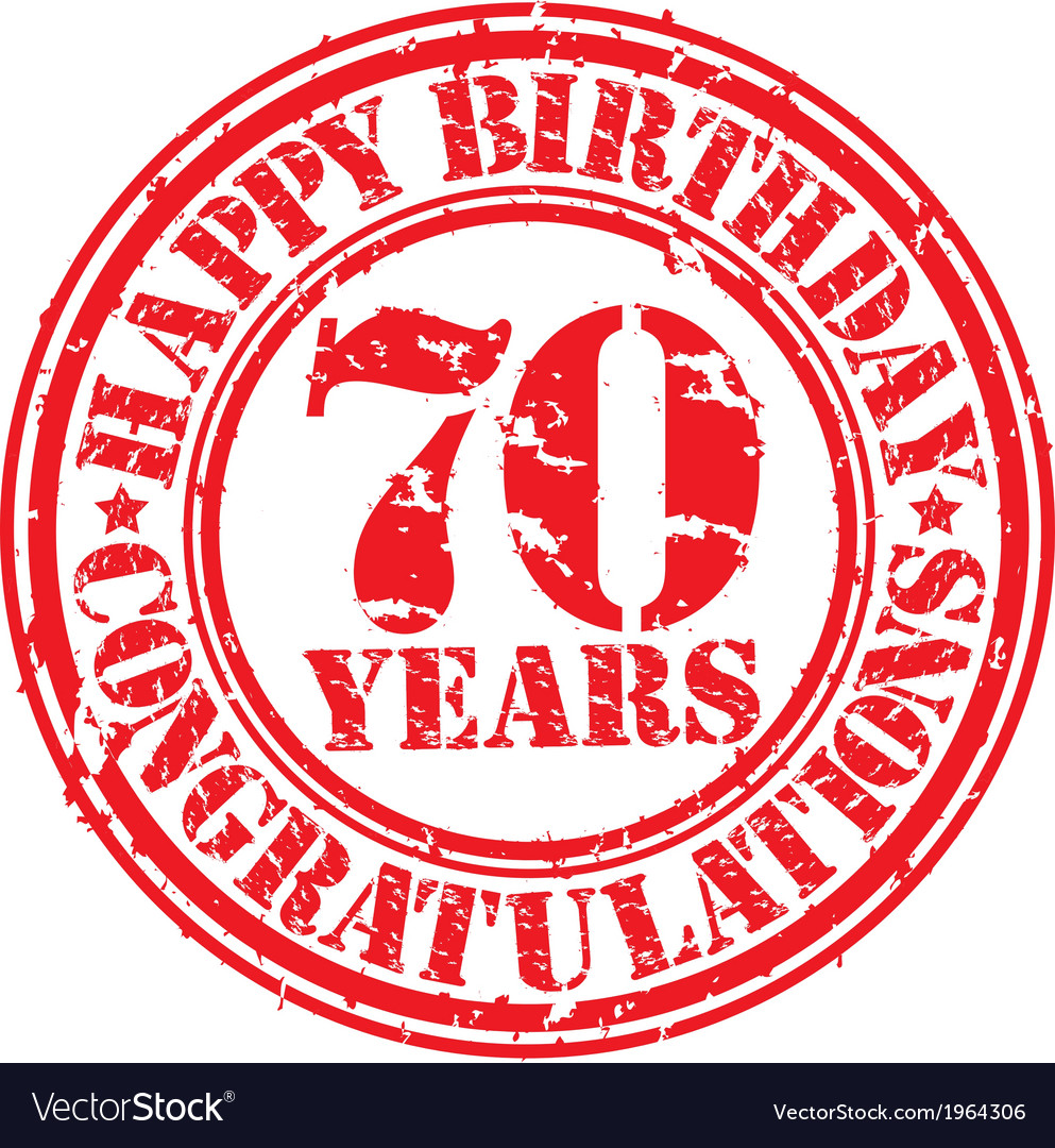 Happy birthday 70 years grunge rubber stamp vector | Price: 1 Credit (USD $1)