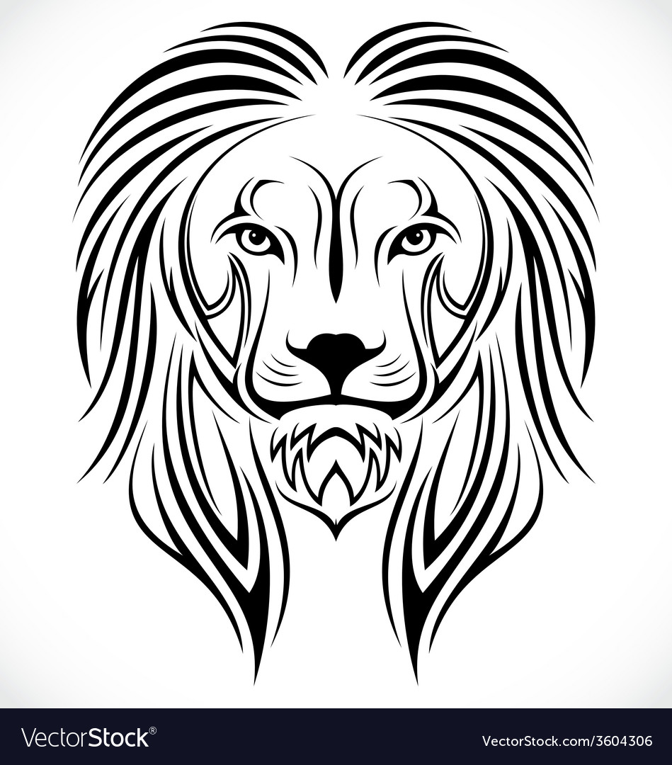 Lion head tribal vector | Price: 1 Credit (USD $1)