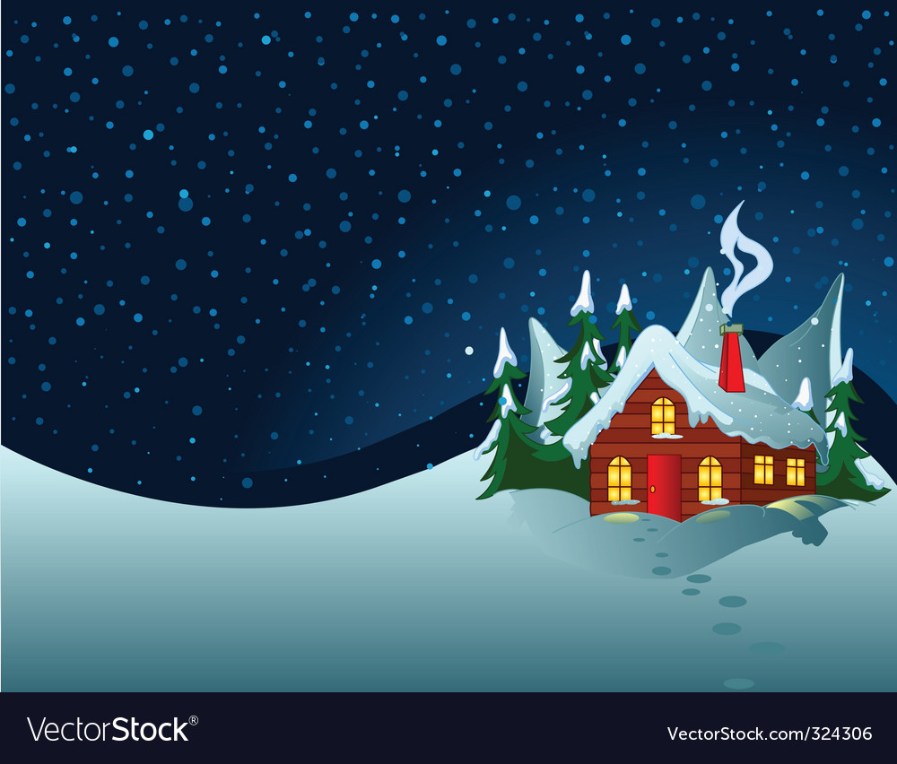 Little house in snowy hills vector | Price: 3 Credit (USD $3)