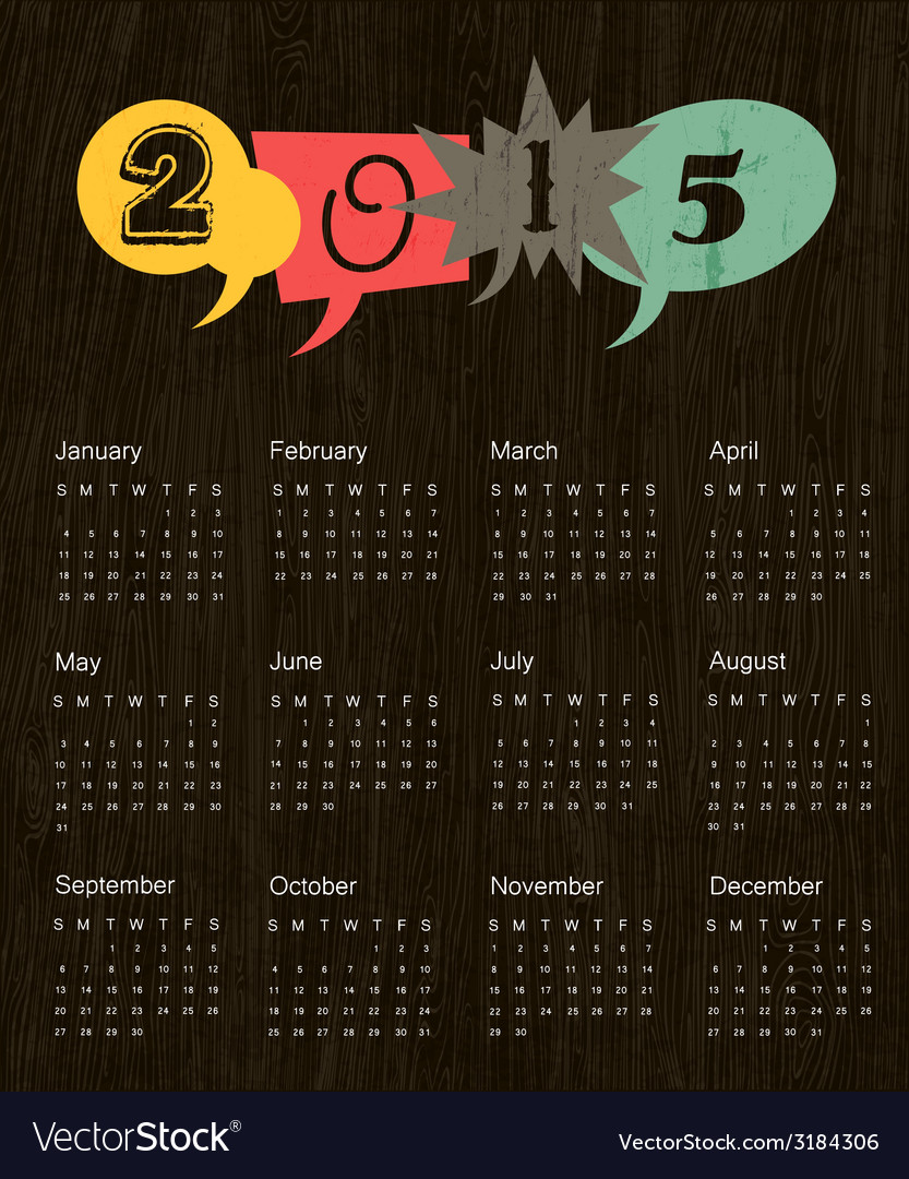 Retro calendar 2015 vector   Price: 1 Credit (USD $1)