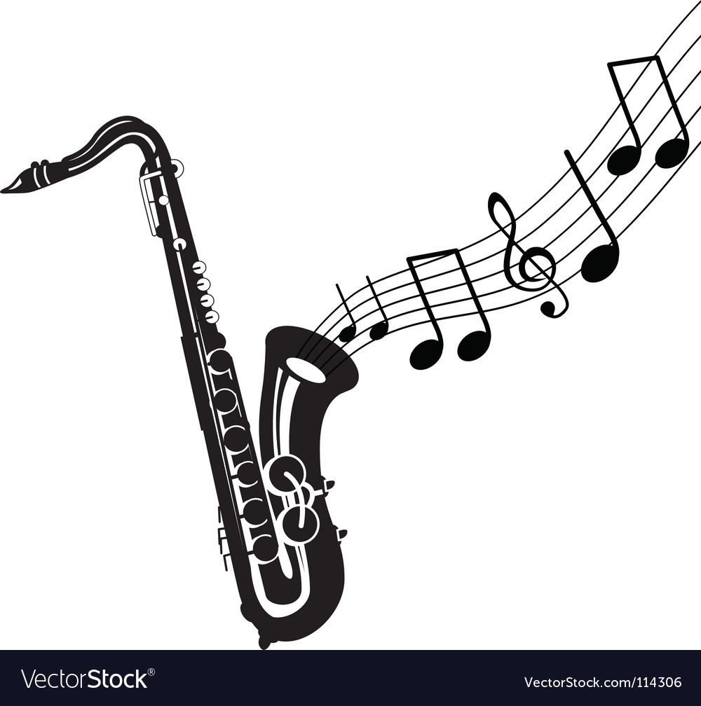 Saxophone with notes vector | Price: 1 Credit (USD $1)