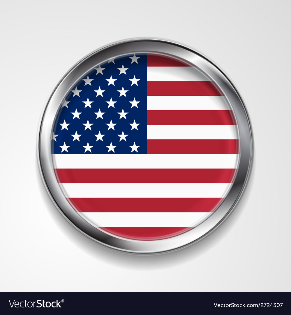 Abstract button with metallic frame usa flag vector | Price: 1 Credit (USD $1)