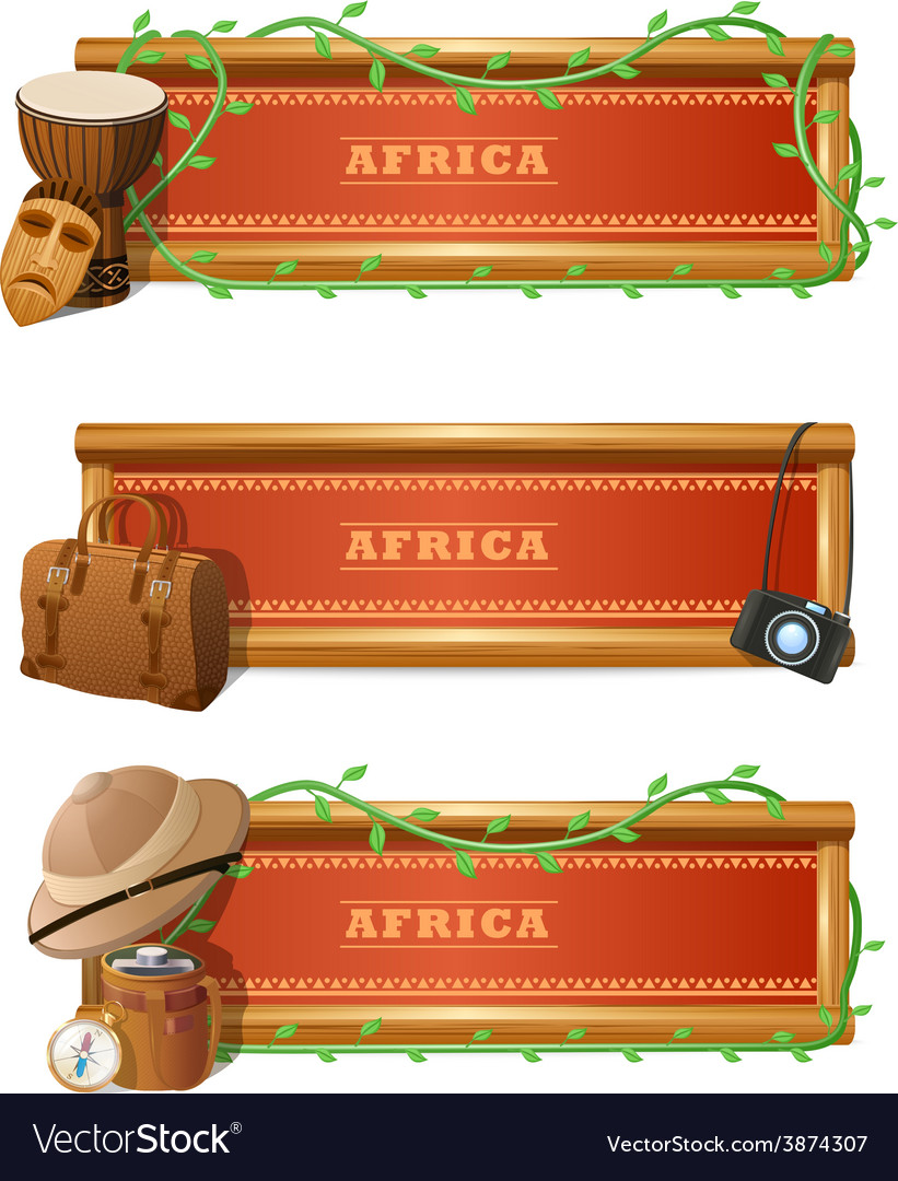 African banner set vector | Price: 1 Credit (USD $1)
