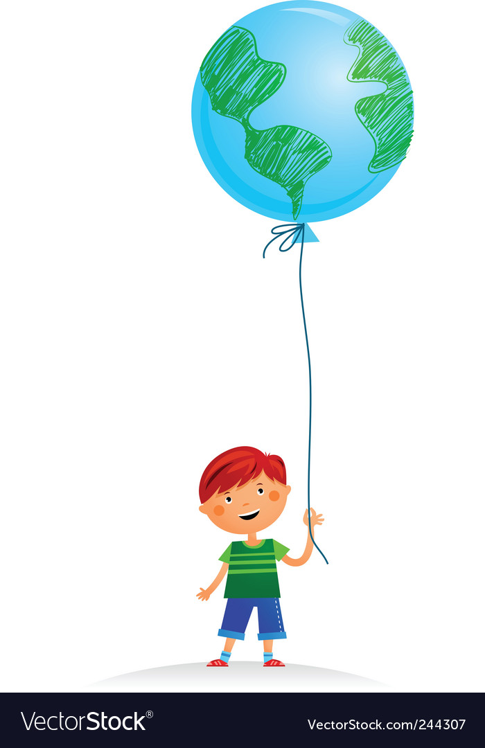 Boy with balloon vector | Price: 1 Credit (USD $1)