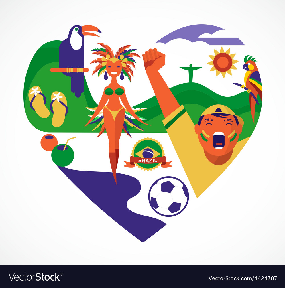 Brazil love  heart with a set of icons vector