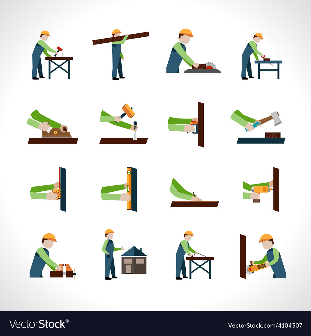 Carpenter icons set vector | Price: 1 Credit (USD $1)