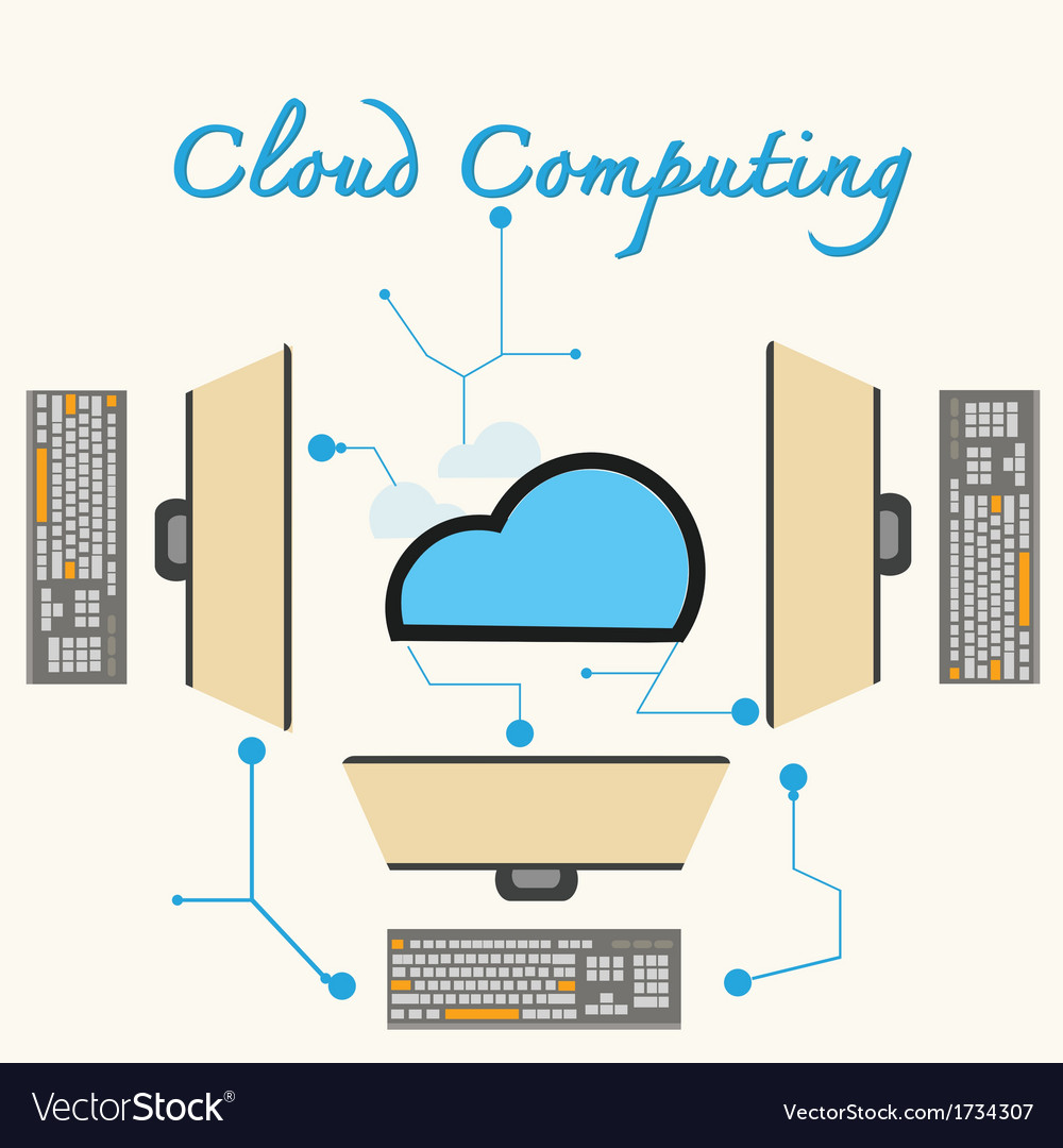 Cloud computing laptops vector | Price: 1 Credit (USD $1)