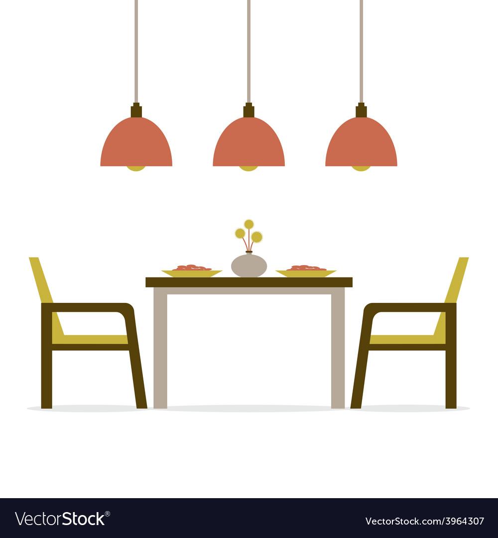 Flat design interior dining room vector | Price: 1 Credit (USD $1)