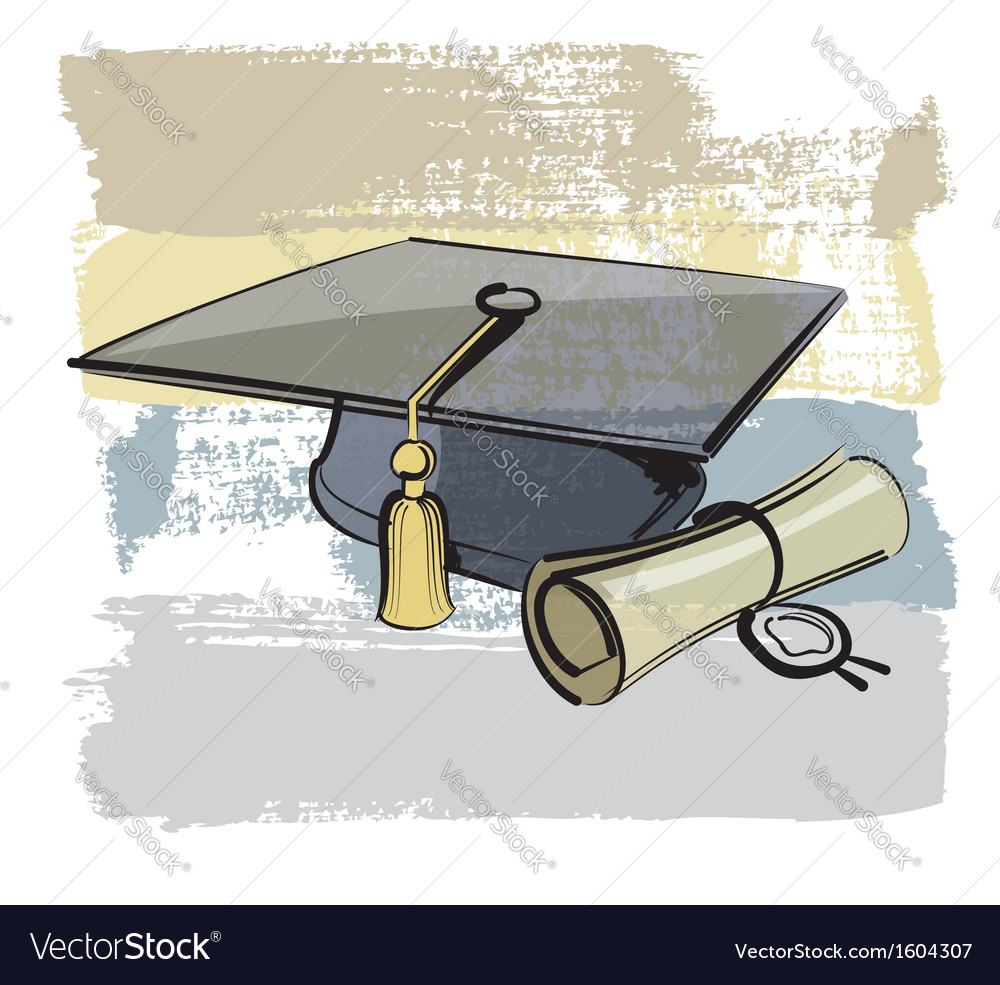 Graduation cap and diploma vector | Price: 1 Credit (USD $1)